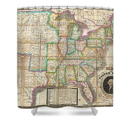 1835 Webster Map Of The United States Shower Curtain by Paul Fearn