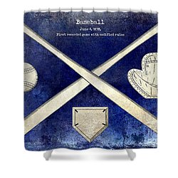 1838 Baseball Drawing 2 Tone Blue Shower Curtain