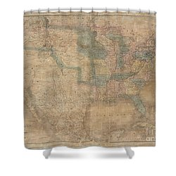 1839 Burr Wall Map Of The United States  Shower Curtain