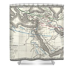 1839 Monin Map Of The Hebrew Peoples Dispersal After The Flood Shower Curtain by Paul Fearn