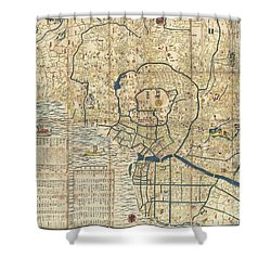 1849 Japanese Map Of Edo Or Tokyo Shower Curtain