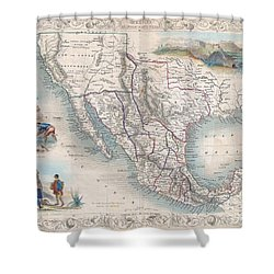1851 Tallis Map Of Mexico Texas And California  Shower Curtain