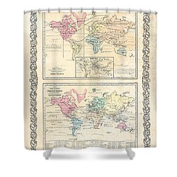 1855 Antique First Plate Ortelius World Map Animal Kingdom World Commerce And Navigation Shower Curtain by Karon Melillo DeVega