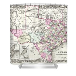 1855 Colton Map Of Texas Shower Curtain