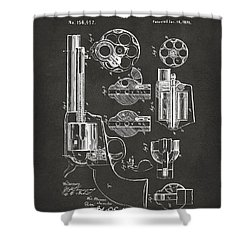 1875 Colt Peacemaker Revolver Patent Artwork - Gray Shower Curtain by Nikki Marie Smith