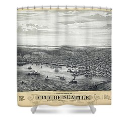 1878 Seattle Washington Map Shower Curtain by Daniel Hagerman