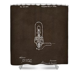 Shower Curtain featuring the drawing 1880 Edison Electric Lights Patent Artwork Espresso by Nikki Marie Smith