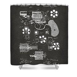 1881 Colt Revolving Fire Arm Patent Artwork - Gray Shower Curtain