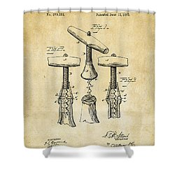 1883 Wine Corckscrew Patent Art - Vintage Black Shower Curtain