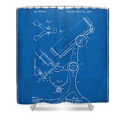 1886 Microscope Patent Artwork - Blueprint Shower Curtain by Nikki Marie Smith