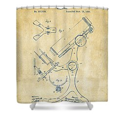 1886 Microscope Patent Artwork - Vintage Shower Curtain by Nikki Marie Smith