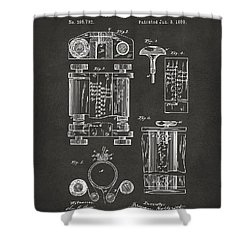1889 First Computer Patent Gray Shower Curtain