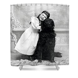 1890 Happy Girl And Her Retriever  Shower Curtain