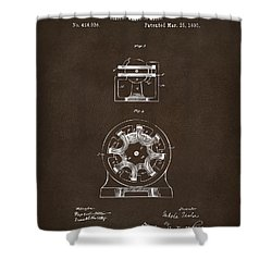 Shower Curtain featuring the drawing 1890 Tesla Motor Patent Espresso by Nikki Marie Smith