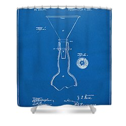 1891 Bottle Neck Patent Artwork Blueprint Shower Curtain by Nikki Marie Smith