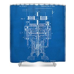 Shower Curtain featuring the drawing 1894 Tesla Electric Generator Patent Blueprint by Nikki Marie Smith