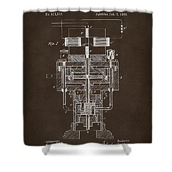 Shower Curtain featuring the drawing 1894 Tesla Electric Generator Patent Espresso by Nikki Marie Smith