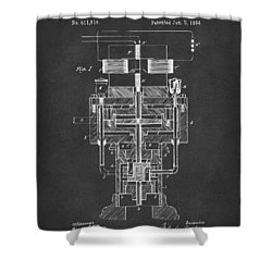 Shower Curtain featuring the drawing 1894 Tesla Electric Generator Patent Gray by Nikki Marie Smith