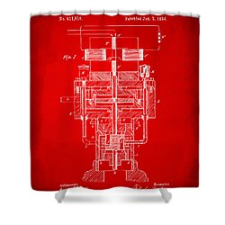 Shower Curtain featuring the drawing 1894 Tesla Electric Generator Patent Red by Nikki Marie Smith