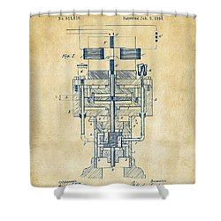 Shower Curtain featuring the drawing 1894 Tesla Electric Generator Patent Vintage by Nikki Marie Smith