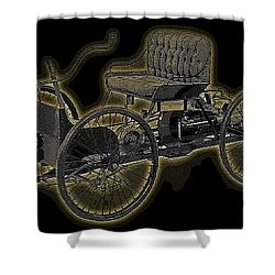 Shower Curtain featuring the digital art 1896 Quadricycle Henry Fords First Car by Marvin Blaine