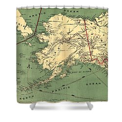 Shower Curtain featuring the photograph 1897 Map Of Alaska by Charles Beeler