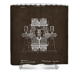 Shower Curtain featuring the drawing 1898 Tesla Electric Circuit Patent Artwork Espresso by Nikki Marie Smith