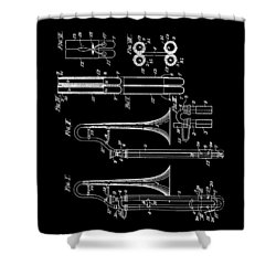 1901 Trombone Patent Shower Curtain by Dan Sproul