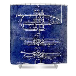 1901 Wind Musical Instrument Patent Drawing Blue Shower Curtain