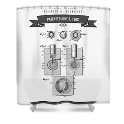 1902 Golf Ball Patent Drawing - Retro Gray Shower Curtain by Aged Pixel