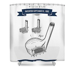 1902 Mules Golf Club Patent Drawing - Retro Navy Blue Shower Curtain by Aged Pixel