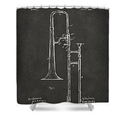 1902 Slide Trombone Patent Artwork - Gray Shower Curtain