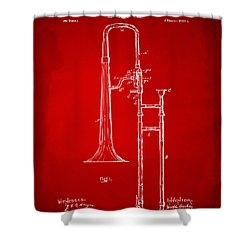 1902 Slide Trombone Patent Artwork Red Shower Curtain by Nikki Marie Smith
