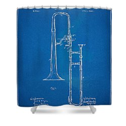 1902 Slide Trombone Patent Blueprint Shower Curtain