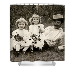1905 A Father And His Daughters Shower Curtain by Historic Image