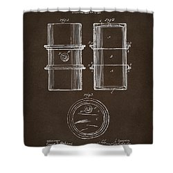 Shower Curtain featuring the drawing 1905 Oil Drum Patent Artwork Espresso by Nikki Marie Smith