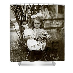 1905 Portrait Of A Cranky Girl Shower Curtain by Historic Image