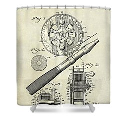 1906 Fishing Reel Patent Drawing Shower Curtain by Jon Neidert