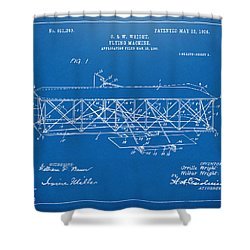 1906 Wright Brothers Flying Machine Patent Blueprint Shower Curtain