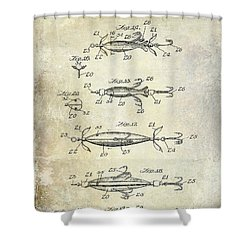 1907 Fishing Lure Patent Shower Curtain by Jon Neidert