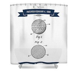 1908 Taylor Golf Ball Patent Drawing - Retro Navy Blue Shower Curtain by Aged Pixel