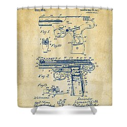 1911 Automatic Firearm Patent Artwork - Vintage Shower Curtain by Nikki Marie Smith