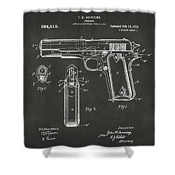 1911 Browning Firearm Patent Artwork - Gray Shower Curtain