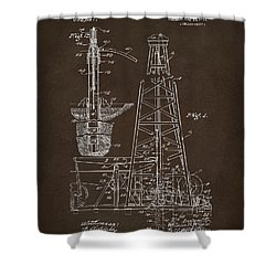 Shower Curtain featuring the drawing 1911 Oil Drilling Rig Patent Artwork - Espresso by Nikki Marie Smith