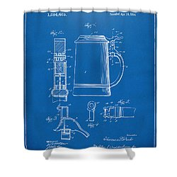 1914 Beer Stein Patent Artwork - Blueprint Shower Curtain by Nikki Marie Smith