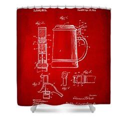 1914 Beer Stein Patent Artwork - Red Shower Curtain by Nikki Marie Smith
