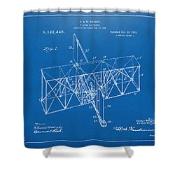 Shower Curtain featuring the drawing 1914 Wright Brothers Flying Machine Patent Blueprint by Nikki Marie Smith