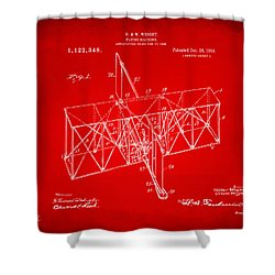 Shower Curtain featuring the drawing 1914 Wright Brothers Flying Machine Patent Red by Nikki Marie Smith