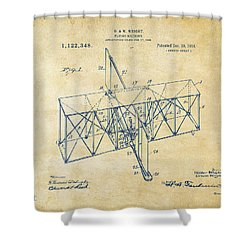 Shower Curtain featuring the drawing 1914 Wright Brothers Flying Machine Patent Vintage by Nikki Marie Smith
