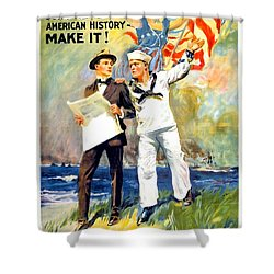 1917 - United States Navy Recruiting Poster - World War One - Color Shower Curtain